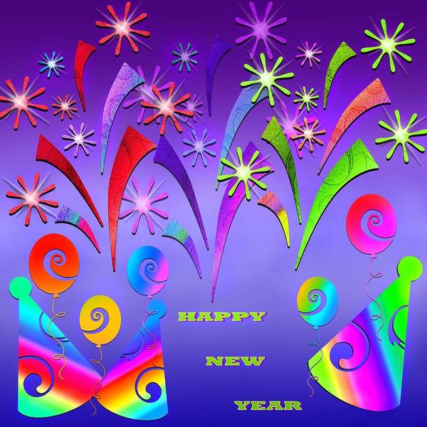 Balloon Festival Digital Art - Happy New Year by Steve Ohlsen