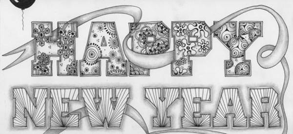 Drawing - Happy New Year by Jan Steinle