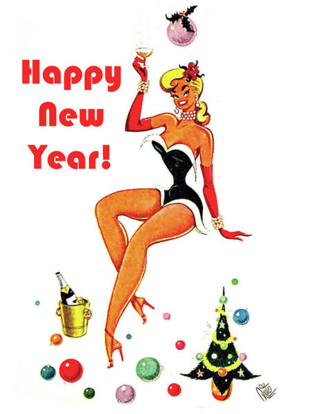 Wall Art - Painting - Happy New Year Vintage Postcard by Long Shot