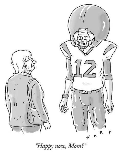 Football Drawing - Happy Now Mom by Kim Warp