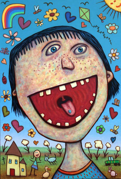 Cotton Painting - Happy Pill by James W Johnson