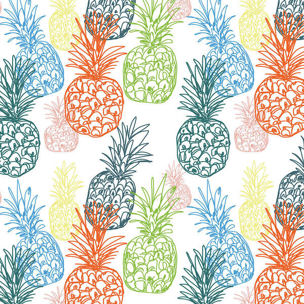 Home Digital Art - Happy Pineapple- Art By Linda Woods by Linda Woods