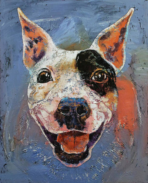 Lengua Wall Art - Painting - Happy Pitbull by Michael Creese