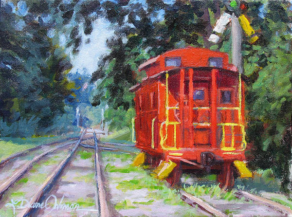 Red Caboose Painting - Happy Rails by L Diane Johnson