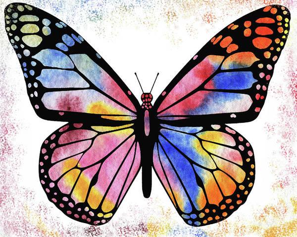 Wall Art - Painting - Happy Rainbow Butterfly  by Irina Sztukowski