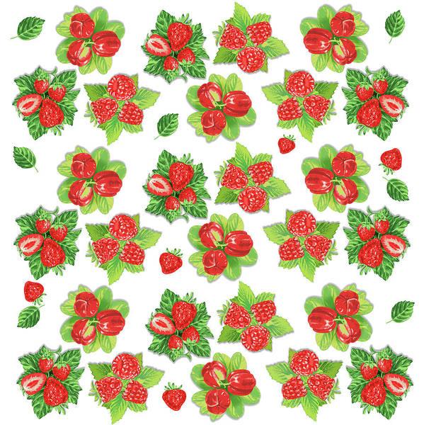Wall Art - Digital Art - Happy Red Berries Pattern by Irina Sztukowski