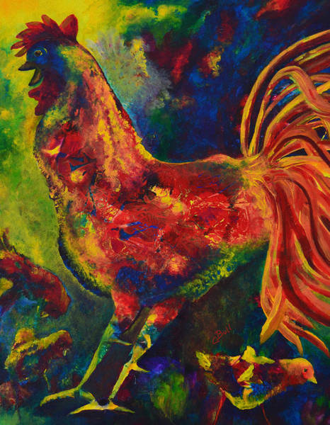 Painting - Happy Rooster Family by Claire Bull