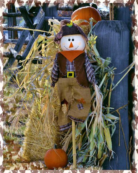 Fence Mixed Media - Happy Scarecrow by Kae Cheatham
