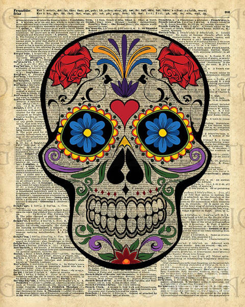 Wall Art - Digital Art - Happy Skull,sugar Skull,dia De Los Muertos,halloween Artwork by Anna W
