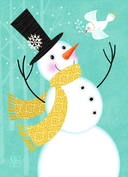 Digital Art - Happy Snowman by Valerie Drake Lesiak