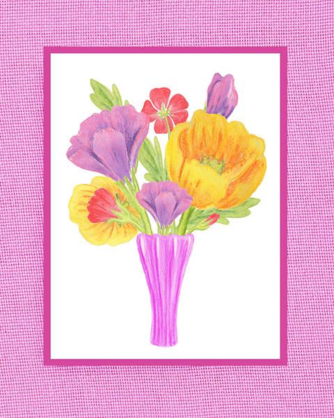 Painting - Happy Summer Bouquet On Baby Pink by Irina Sztukowski