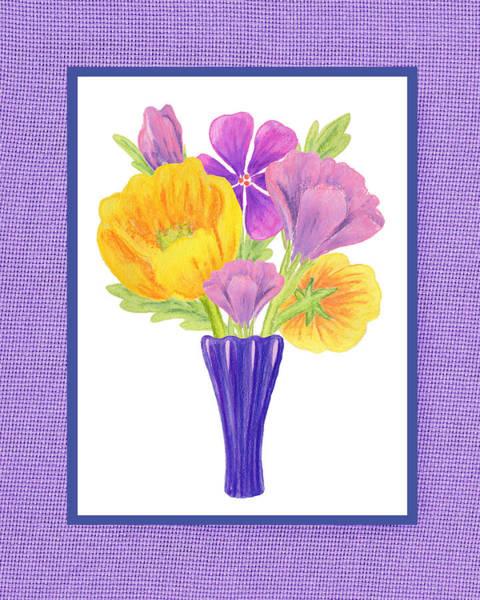 Happy Boy Painting - Happy Summer Bouquet Sweet And Purple by Irina Sztukowski