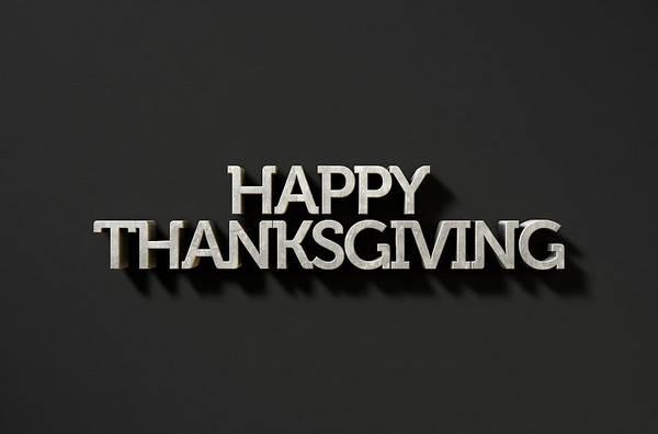 Giving Wall Art - Digital Art - Happy Thanksgiving Text On Black by Allan Swart