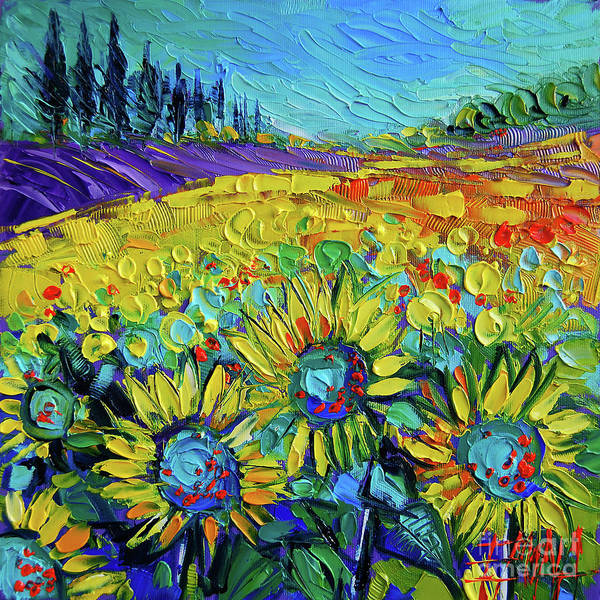 Wall Art - Painting - Happy Tournesols Modern Impressionist Impasto Palette Knife Oil Painting by Mona Edulesco
