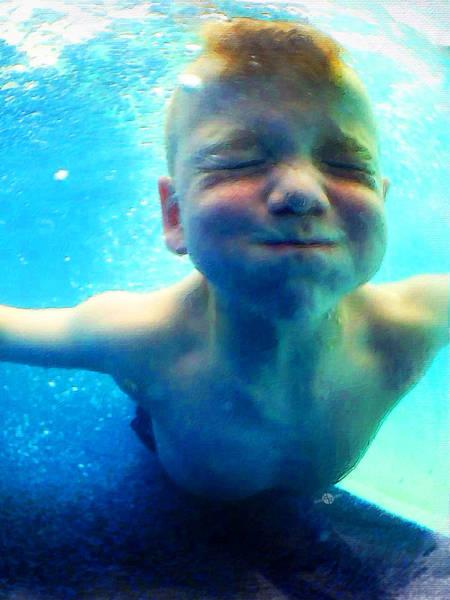 Painting - Happy Under Water Pool Boy Vertical by Tony Rubino