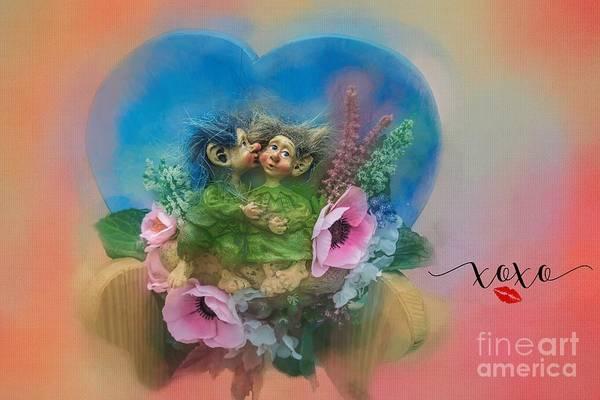 Troll Mixed Media - Happy Valentine's Day by Eva Lechner