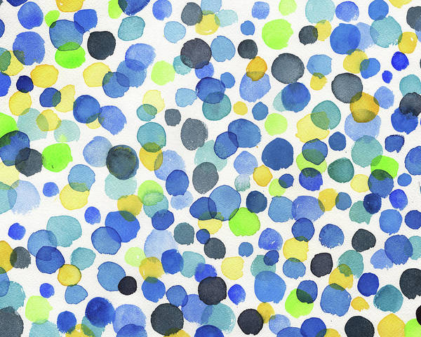 Blob Painting - Happy Watercolor Dots In Green Blue And Yellow by Irina Sztukowski