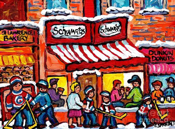 Painting - Happy Winter Day On Rue St Laurent Street Hockey Art Montreal Scene Schwartz's Deli Carole Spandau by Carole Spandau
