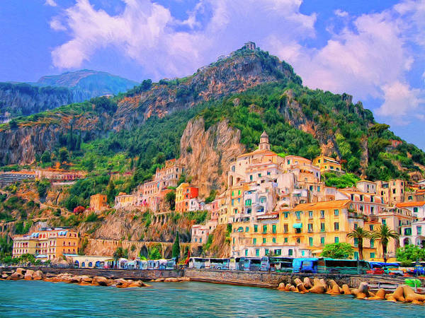 Wall Art - Painting - Harbor At Amalfi by Dominic Piperata