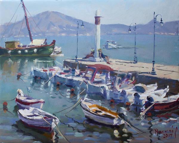 Harbor Wall Art - Painting - Harbor At Oropos Athens by Ylli Haruni