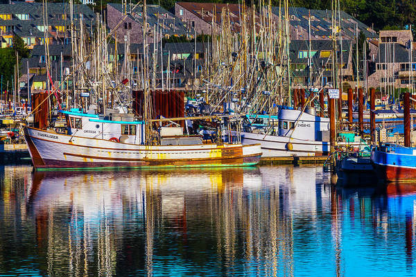 Rippling Photograph - Harbor Boats by Garry Gay