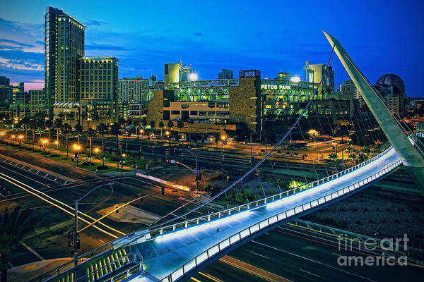 Photograph - Harbor Drive Pedestrian Bridge And Petco Park At Night by Sam Antonio Photography