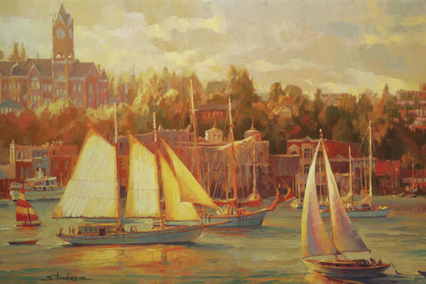 Sepia Painting - Harbor Faire by Steve Henderson
