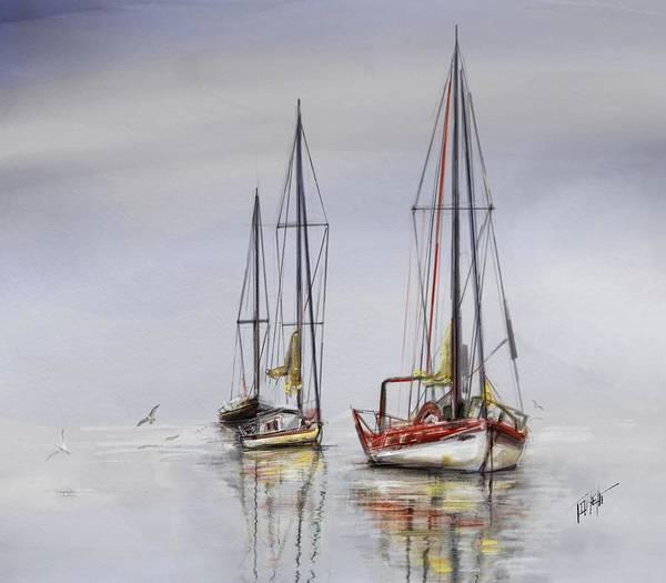 Land Mark Mixed Media - Harbor Light Sailing by Mark Tonelli