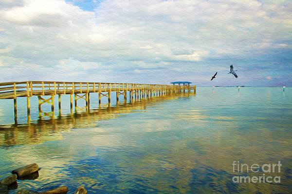 Shorebird Photograph - Pier At Dusk by Laura D Young
