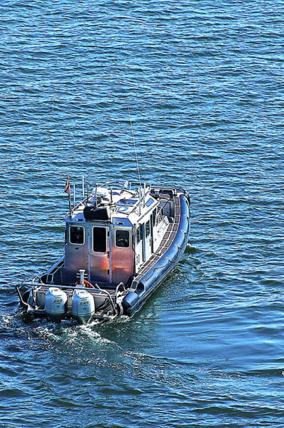 Outboard Engine Photograph - Harbor Police Patrol Boat by Richard Henne