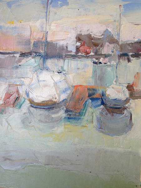 Painting - Harbor Sailboats by Suzanne Cerny
