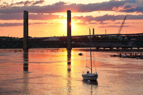 Wall Art - Photograph - Harbor Sunset And Sailboat by Eric Gendron