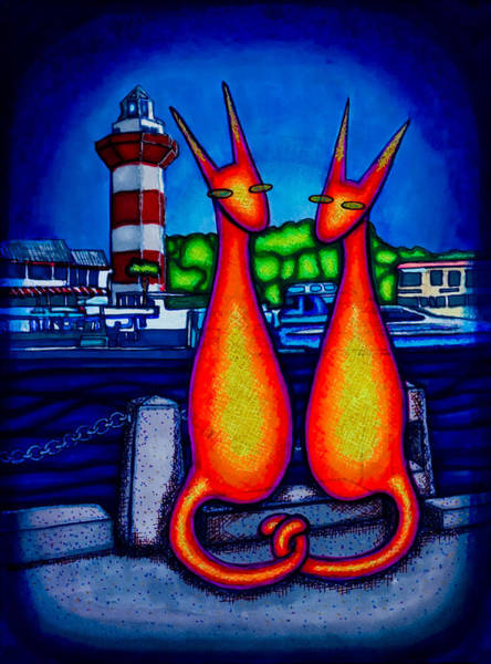 Drawing - Harbor Town Kats by Laurie Tietjen
