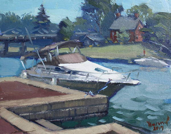 Tonawanda Wall Art - Painting - Harbour At North Tonawanda by Ylli Haruni