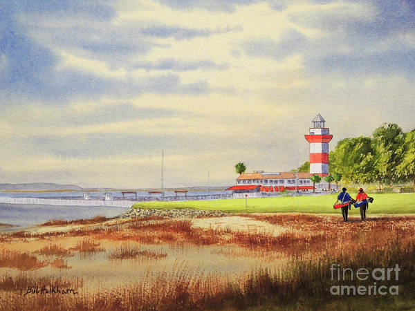 Hilton Head Island Painting - Harbour Town Golf Course 18th Hole by Bill Holkham