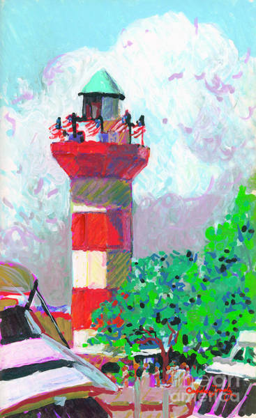 Oak Harbor Painting - Harbour Town Light House by Candace Lovely