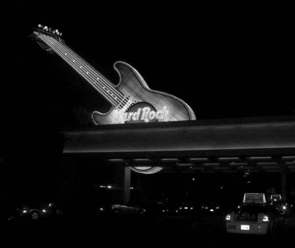 Photograph - Hard Rock Cafe Sign 2 B-w by Anita Burgermeister