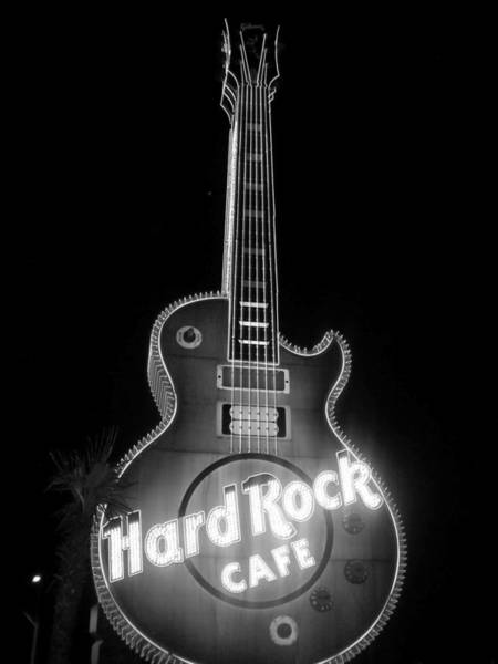 Photograph - Hard Rock Cafe Sign B-w by Anita Burgermeister