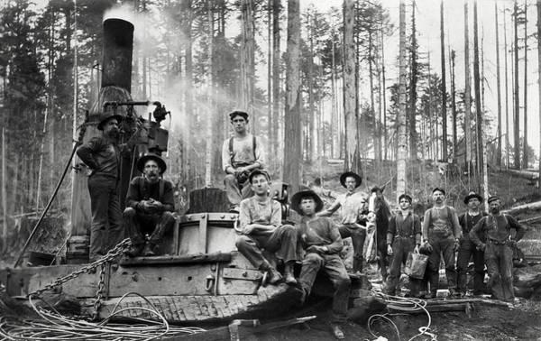 Wall Art - Photograph - Hardcore Redwood Logging  C. 1890 by Daniel Hagerman