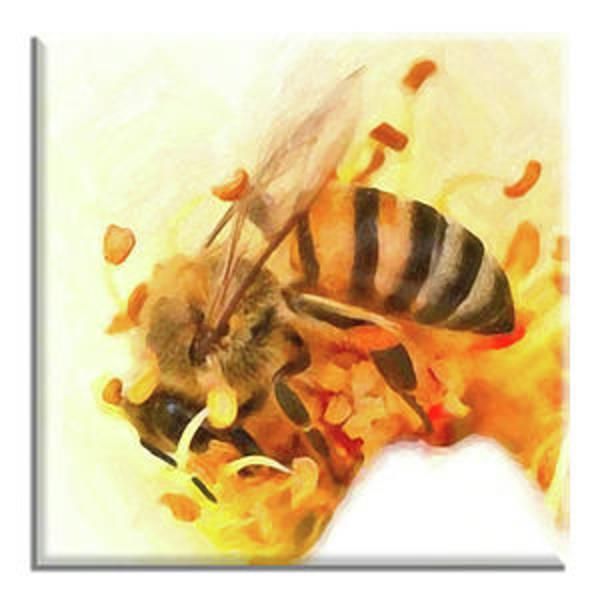 Elliott Digital Art - Hardworking Honeybee Ceramic Tile by Di Designs