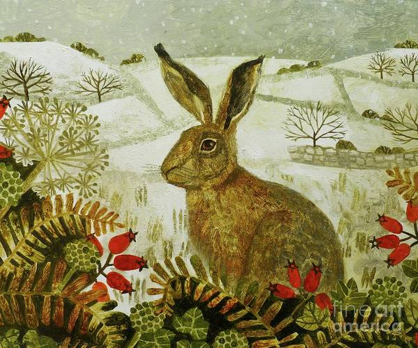 Snowscape Painting - Hare In The Snow by Vanessa Bowman