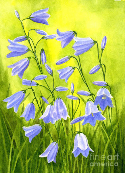 Bells Painting - Harebells With Yellow And Green Background by Sharon Freeman