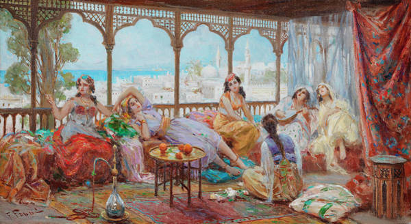 Beyond Painting - Harem Girls Resting On A Terrace, The Coast Beyond by Fabio Fabbi