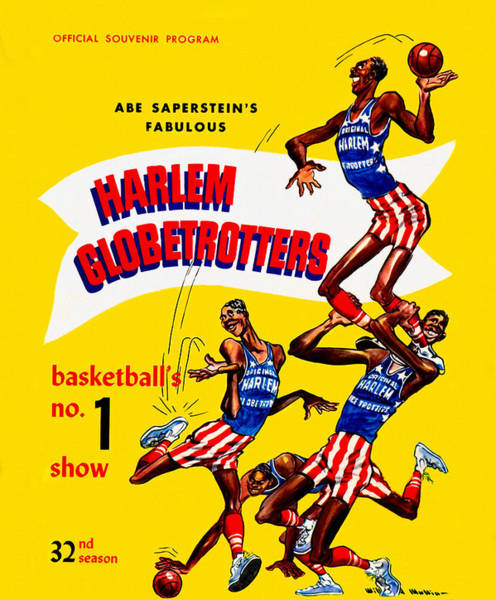 Meadowlark Painting - Harlem Globetrotters Vintage Program 32nd Season by John Farr