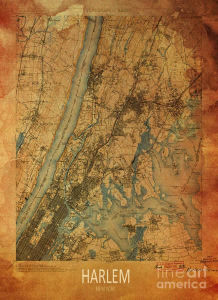 Wall Art - Digital Art - Harlem, New York, 1900 Map by Drawspots Illustrations