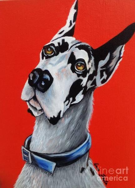 Black Great Dane Painting - Harlequin  by Anna Festa