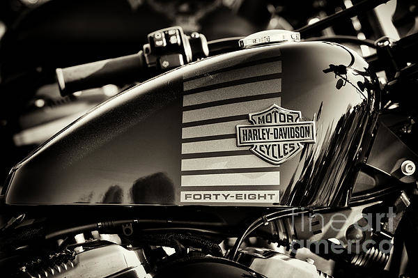 Harley Davidson Black And White Wall Art - Photograph - Harley 48 Sepia by Tim Gainey