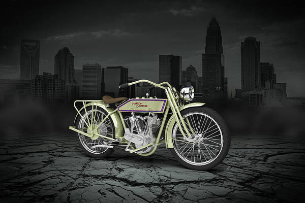 Wall Art - Digital Art - Harley Davidson 11j 1915 City by Aged Pixel