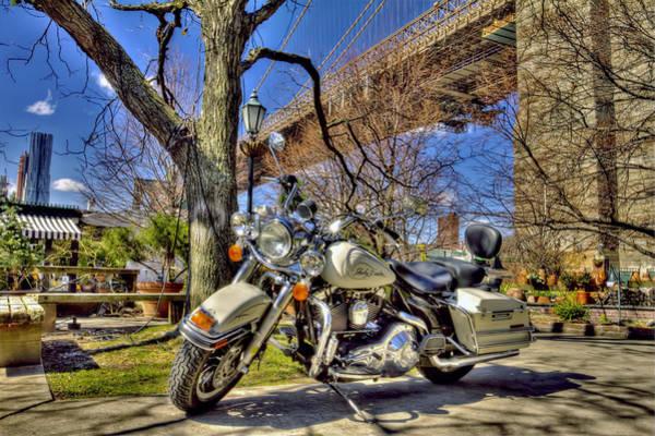 Wall Art - Photograph - Harley Davidson And Brooklyn Bridge by Geraldine Scull