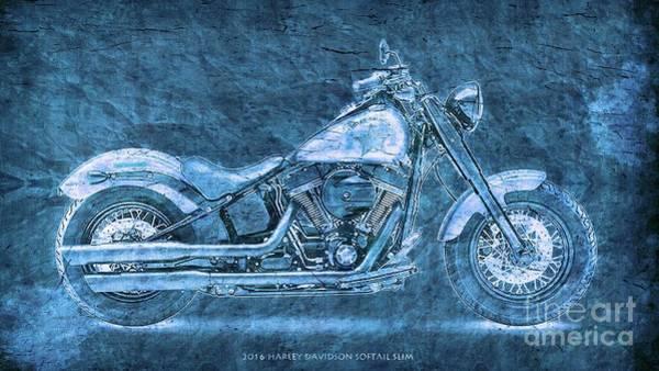 Wall Art - Digital Art - Harley Davidson Classic Bike, Original Blue Art Print  by Drawspots Illustrations
